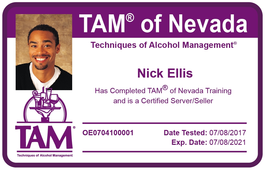 Alcohol awareness card issued by TAM of Nevada